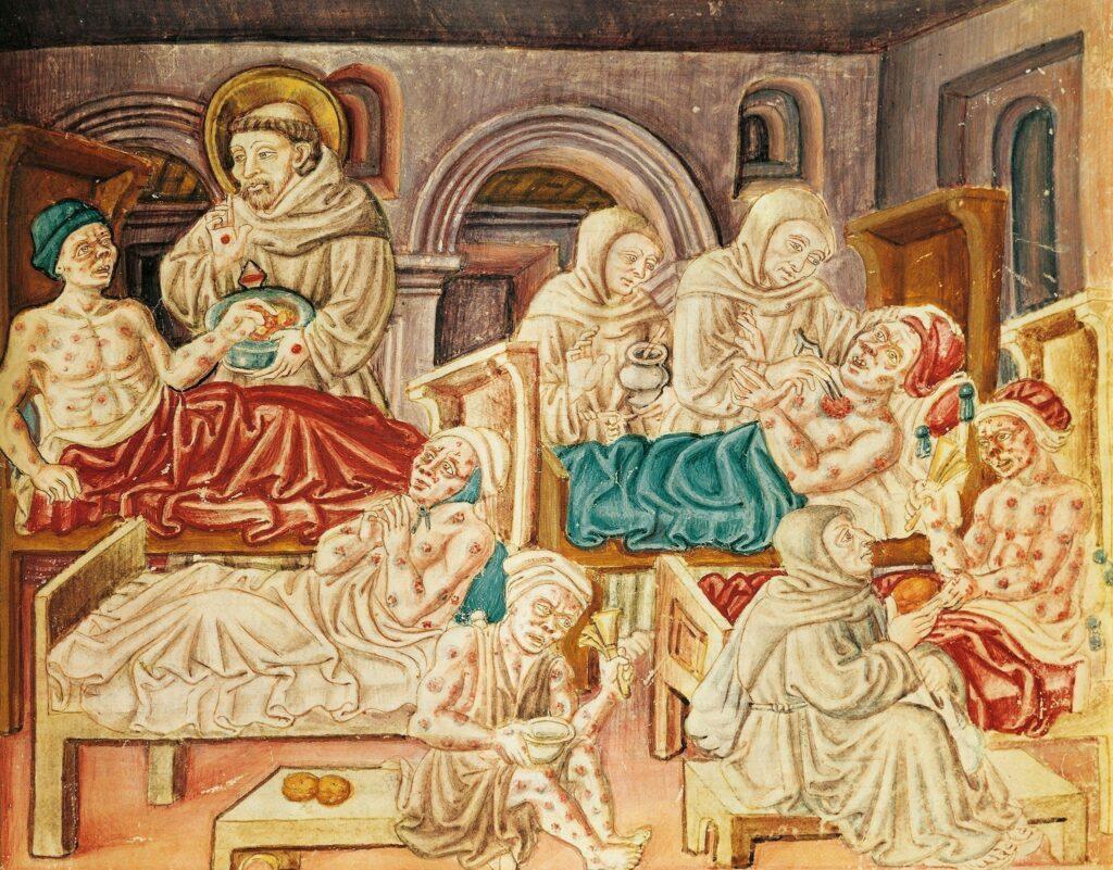 Franciscan monks treat victims of the plague 1024x801 - <b>Из-за пандемии государства ущемляют права человека.</b> Мы изучили, как это происходило в разное время и какие опасности нас ждут - Заборона